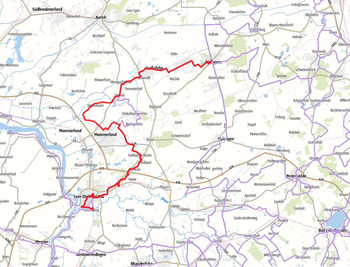 Karte Fehnroute Etappe 1
