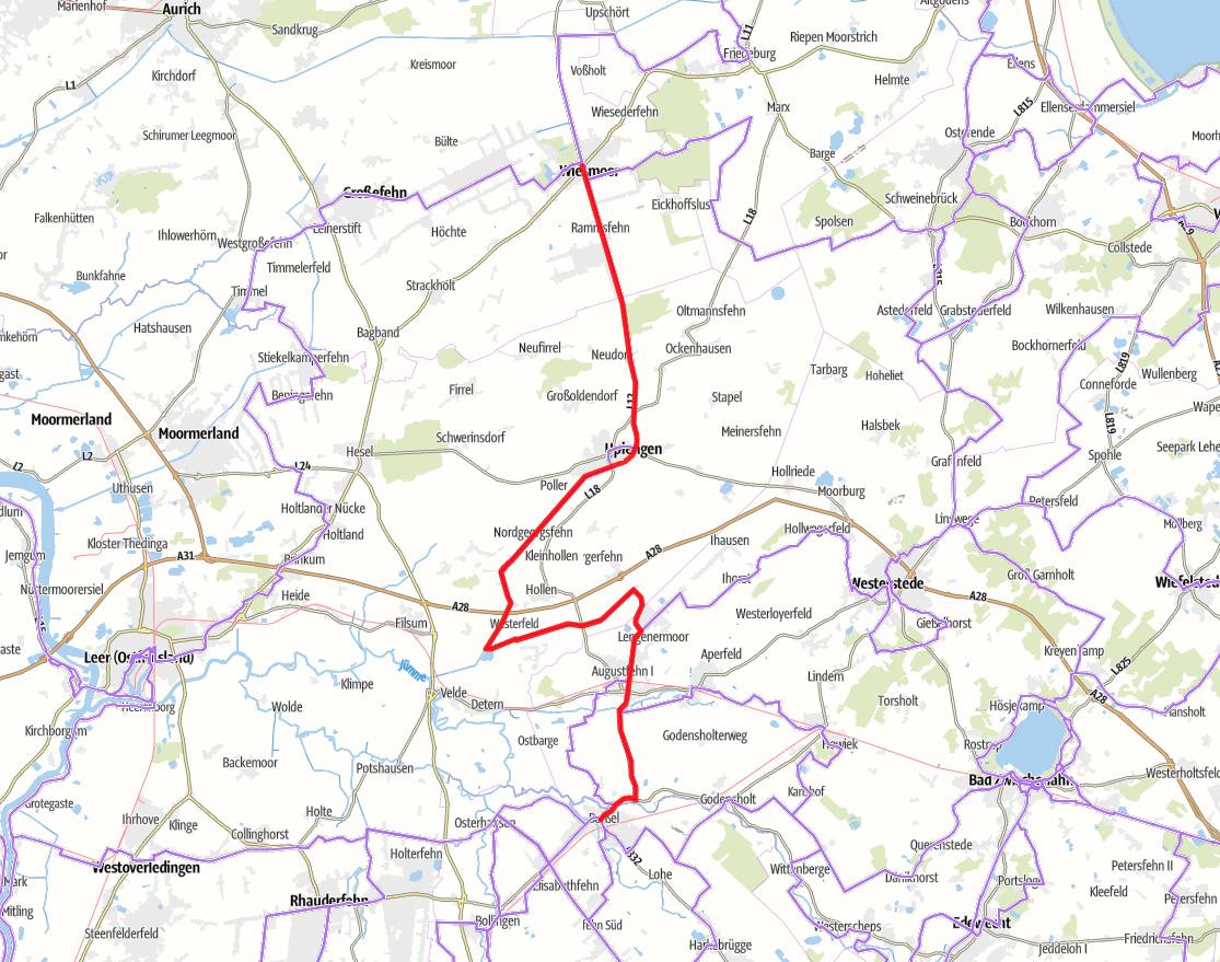 Karte Fehnroute Etappe 2
