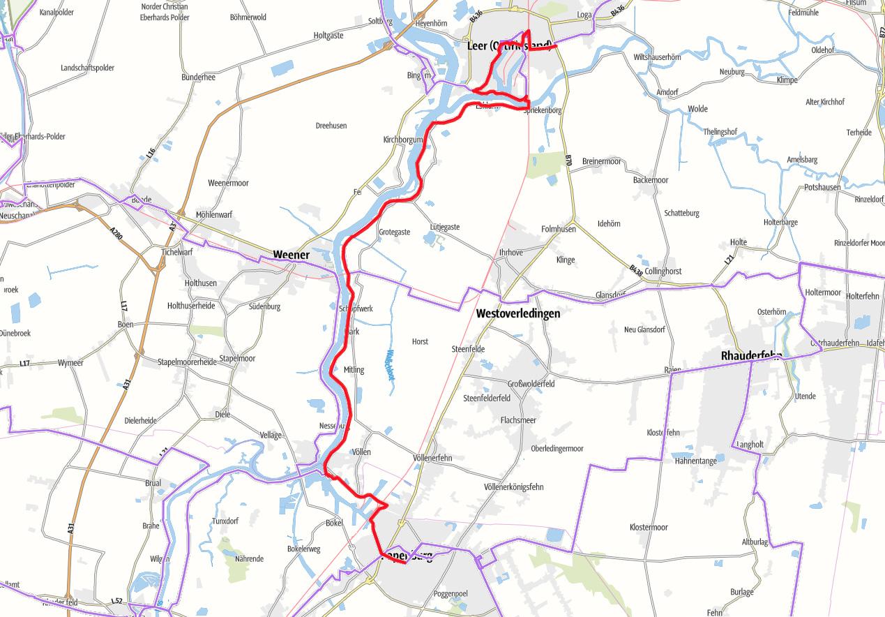 Karte Fehnroute Etappe 4
